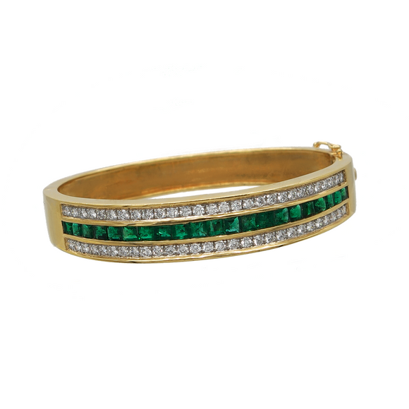 18K YELLOW GOLD 4.14 CTTW EMERALD AND 1.70 CTTW DIAMOND BRACELET - PERSONA JEWELRY