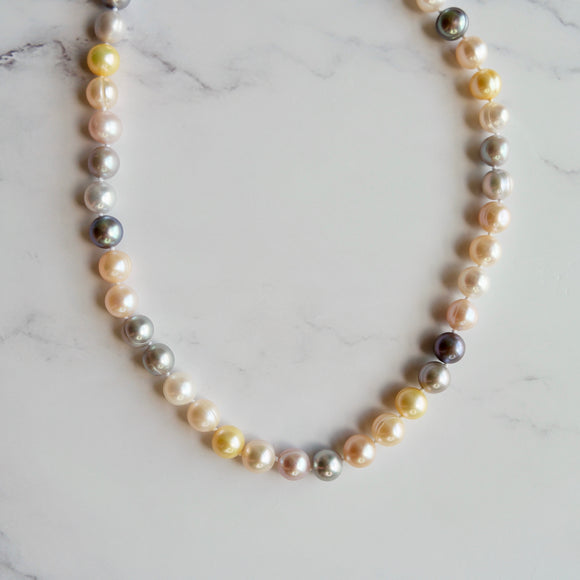 9 MM ROUND MULTI-COLOR  FRESHWATER CULTURED PEARL NECKLACE - PERSONA JEWELRY