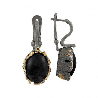 BLACK AGATE OXIDIZED SILVER DRAGON'S EGG EARRINGS - PERSONA JEWELRY