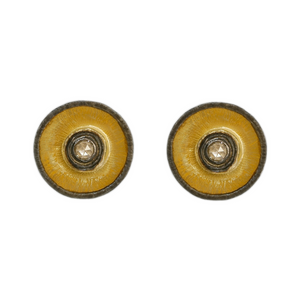 ROSE CUT DIAMOND ROUND STUDS WITH OXIDIZED RIM - PERSONA JEWELRY