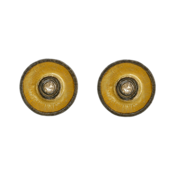 14K YELLOW GOLD ROSE CUT DIAMOND ROUND STUDS WITH OXIDIZED RIM - PERSONA JEWELRY