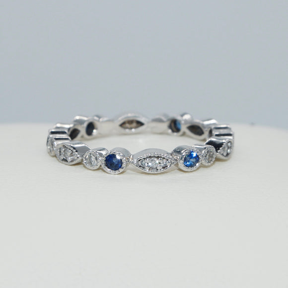 14K WHITE GOLD BEZEL SET DIAMOND AND SAPPHIRE VINTAGE STYLE MILGRAINE ETERNITY BAND - PERSONA JEWELRY