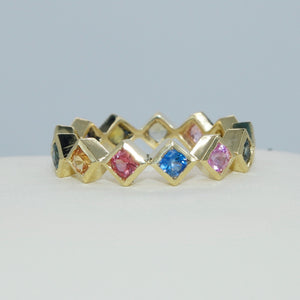 18K YELLOW GOLD SQUARE BEZEL SET MULTI-COLOR SAPPHIRE ETERNITY BAND - PERSONA JEWELRY