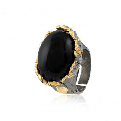 BLACK AGATE OXIDIZED SILVER DRAGON'S EGG RING - PERSONA JEWELRY