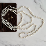 WHITE FRESHWATER PEARL LONG NECKLACE WITH STERLING SILVER CLASP - PERSONA JEWELRY