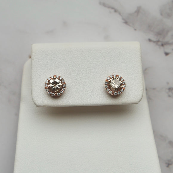 14K ROSE GOLD 0.35 CTTW COGNAC DIAMOND HALO STUD EARRINGS - PERSONA JEWELRY