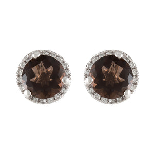 14K WHITE GOLD 11 MM SMOKY QUARTZ IN 0.60 CTTW DIAMOND HALO STUD EARRINGS - PERSONA JEWELRY