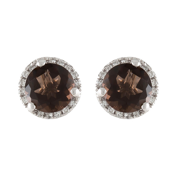 14K WHITE SMOKEY TOPAZ IN DIAMOND HALO STUD EARRINGS - PERSONA JEWELRY