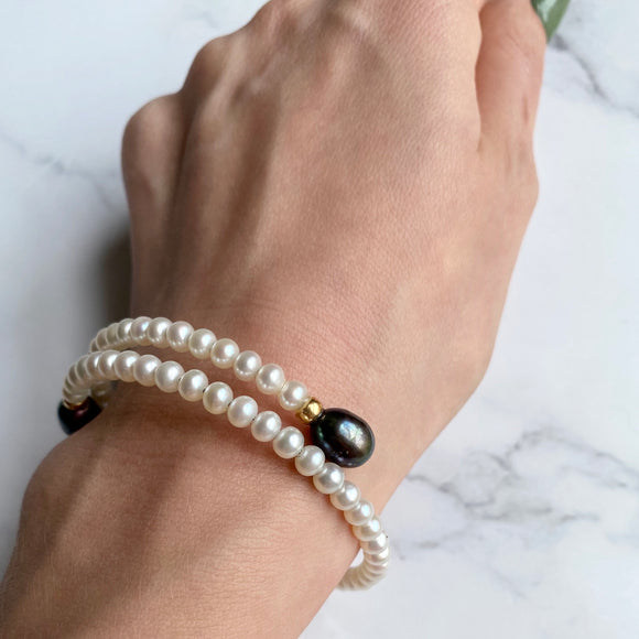 FRESHWATER PEARL BYPASS FLEX BRACELET WITH 14K YELLOW GOLD BEADS - PERSONA JEWELRY