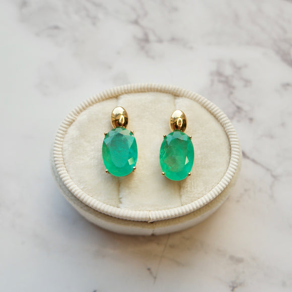 18K YELLOW GOLD 5.44 CTTW OVAL EMERALD STUD EARRINGS