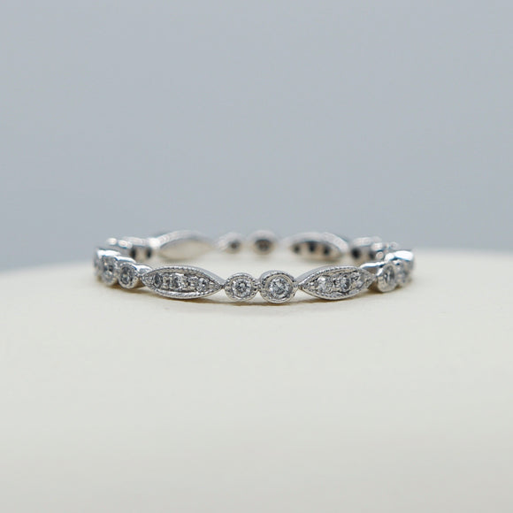 14K WHITE GOLD DIAMOND VINTAGE STYLE MILGRAIN ETERNITY BAND - PERSONA JEWELRY