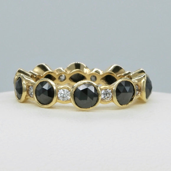 18K YELLOW GOLD BEZEL SET BLACK AND WHITE DIAMOND BAND - PERSONA JEWELRY