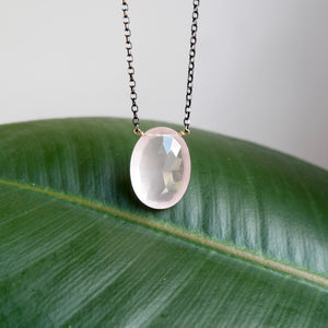 OXIDIZED STERLING SILVER 31.07 CTW OVAL FACETED ROSE QUARTZ NECKLACE - PERSONA JEWELRY