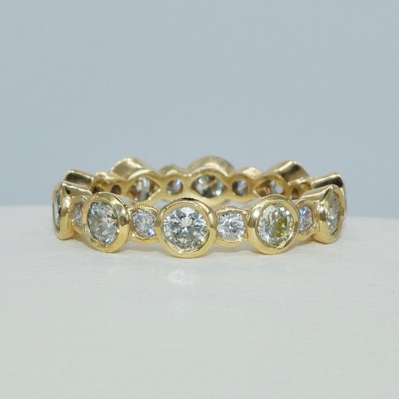 18K YELLOW GOLD BEZEL SET DIAMOND ETERNITY BAND - PERSONA JEWELRY