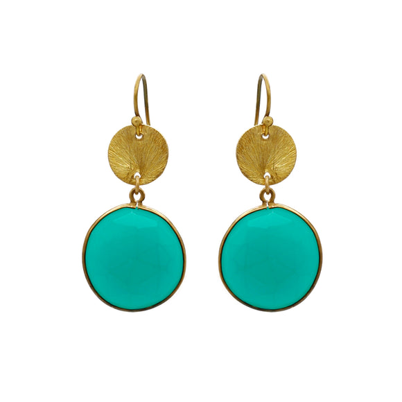 CHRYSOPHRASE SLICE HOOK EARRINGS - PERSONA JEWELRY
