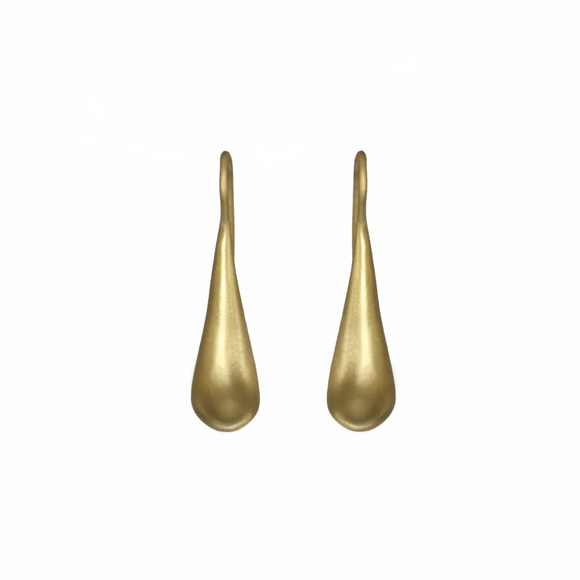 YELLOW GOLD TEAR DROP HOOK EARRINGS - PERSONA JEWELRY