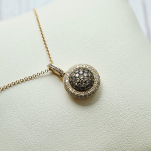 14K YELLOW GOLD 0.50 CTTW COGNAC AND WHITE DIAMOND DOME NECKLACE - PERSONA JEWELRY