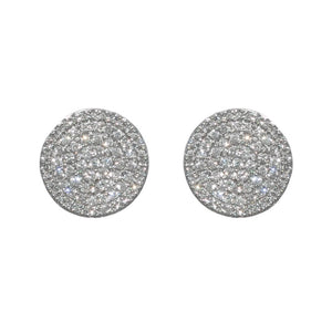 14K WHITE GOLD 0.89 CTTW DIAMOND PAVE DISC STUD EARRINGS - PERSONA JEWELRY