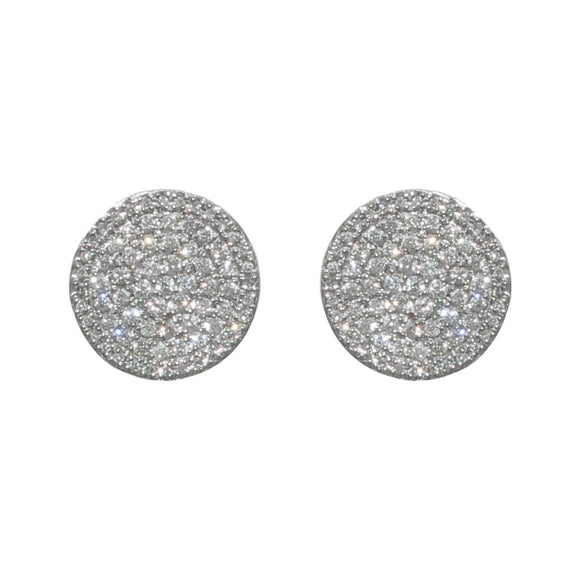 14K WHITE GOLD 0.89 CARAT TOTAL WEIGHT DIAMOND PAVE DISC STUD EARRINGS - PERSONA JEWELRY