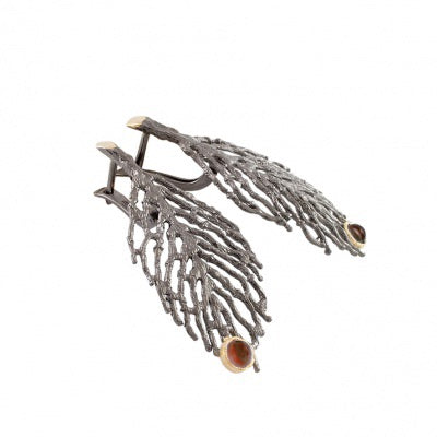 GARNET OXIDIZED SILVER JUNIPER LEAF EARRINGS - PERSONA JEWELRY