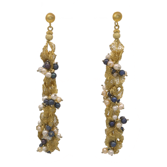 MULTI-COLOR PEARL EARRINGS IN WOVEN YELLOW GOLD - PERSONA JEWELRY
