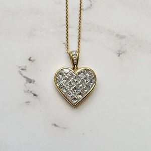 TIFFANY 18K YELLOW GOLD 3.50 CTTW DIAMOND HEART NECKLACE - PERSONA JEWELRY