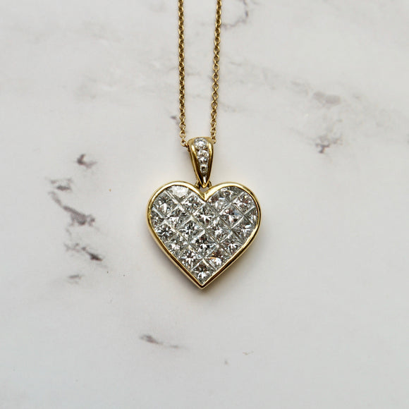 TIFFANY 18K YELLOW GOLD 3.50 CTTW DIAMOND HEART NECKLACE