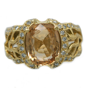 18K YELLOW GOLD 5.43 CARAT YELLOW SAPPHIRE AND DIAMOND RING - PERSONA JEWELRY