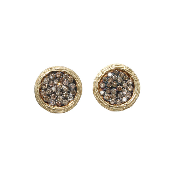 14K YELLOW GOLD 0.46 CTTW COGNAC DIAMOND STUD EARRINGS - PERSONA JEWELRY