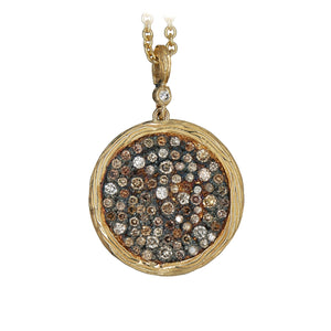14K YELLOW GOLD 1.75 CARAT TOTAL WEIGHT MULTI-COLOR DIAMOND DISK PENDANT - PERSONA JEWELRY
