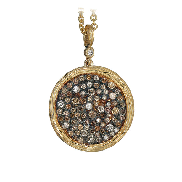 14K YELLOW GOLD 1.75 CTTW MULTI-COLOR DIAMOND DISK PENDANT - PERSONA JEWELRY