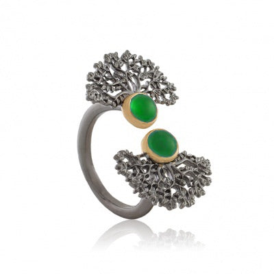 GREEN AGATE OXIDIZED SILVER TREE RING