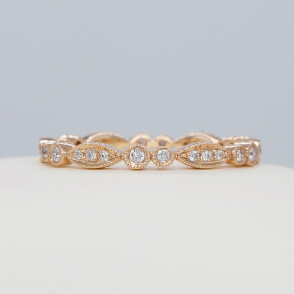 14K ROSE GOLD VINTAGE STYLE 0.20 CTTW DIAMOND MILGRAIN ETERNITY BAND - PERSONA JEWELRY