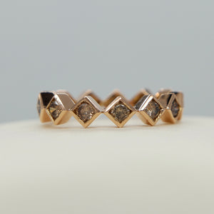 18K ROSE GOLD SQUARE BEZEL SET 1.30 CTW COGNAC DIAMOND ETERNITY BAND - PERSONA JEWELRY