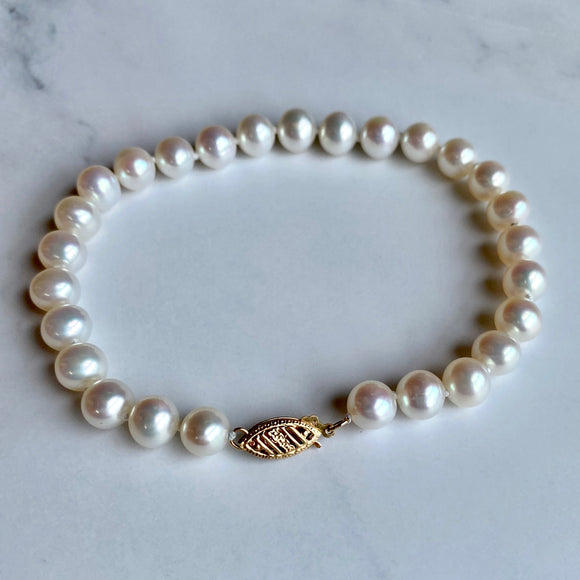 7.5 MM WHITE FRESHWATER PEARL BRACELET WITH 14K YELLOW GOLD CLASP - PERSONA JEWELRY