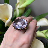 OXIDIZED STERLING SILVER & VERMEIL 45.3 CTW ROSE DE FRANCE AMETHYST RING - PERSONA JEWELRY
