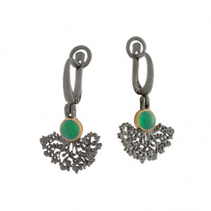 GREEN AGATE OXIDIZED SILVER TREE EARRINGS - PERSONA JEWELRY
