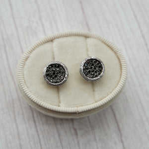 14K WHITE GOLD 0.46 CTTW BLACK DIAMOND BUTTON STUD EARRINGS - PERSONA JEWELRY