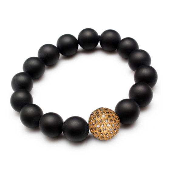 BLACK ONYX & COGNAC DIAMOND BRACELET - PERSONA JEWELRY
