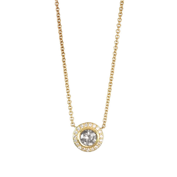 18K YELLOW GOLD DIAMOND BEZEL HALO NECKLACE - PERSONA JEWELRY