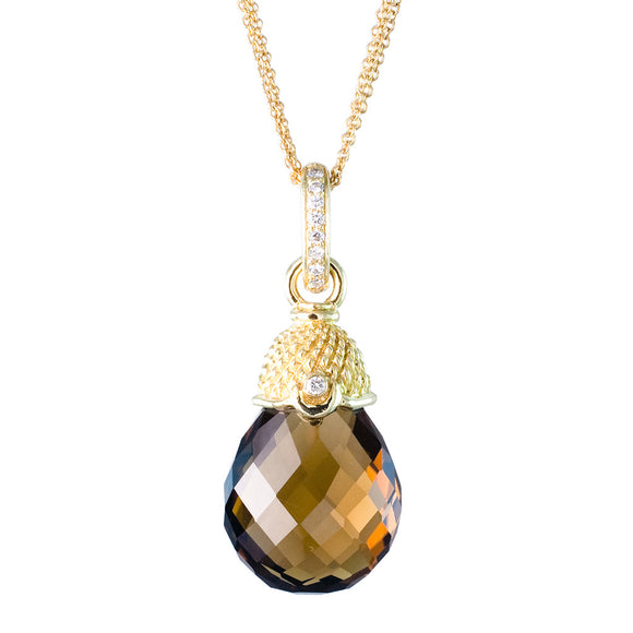 18K YELLOW GOLD WHISKEY QUARTZ DROP DIAMOND PENDANT - PERSONA JEWELRY