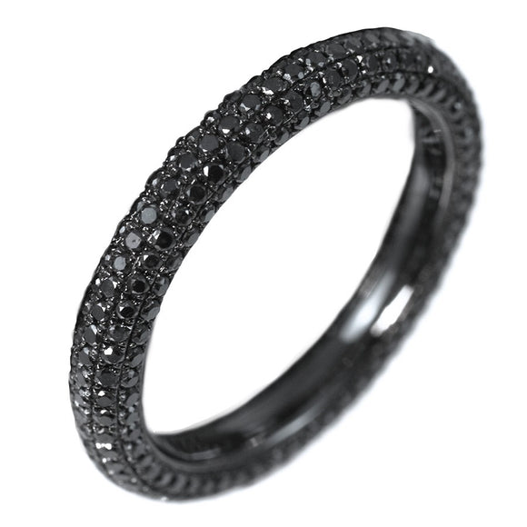 18K OXIDIZED WHITE GOLD 5 ROW BLACK DIAMOND ETERNITY BAND - PERSONA JEWELRY