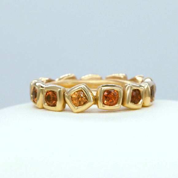 18K YELLOW GOLD SPESSARTITE GARNET OFF SET BEZEL ETERNITY BAND - PERSONA JEWELRY