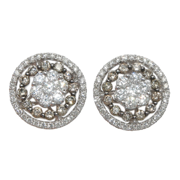 18K WHITE GOLD 1.59 CARAT TOTAL WEIGHT WHITE AND COGNAC DIAMOND CLUSTER JACKET 4PC STUD EARRINGS - PERSONA JEWELRY