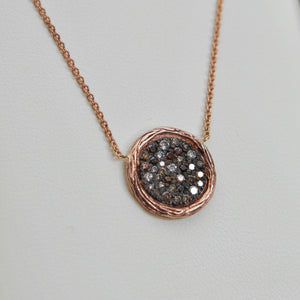 14K GOLD 0.60 CTTW WHITE AND COGNAC DIAMOND DISC NECKLACE - PERSONA JEWELRY