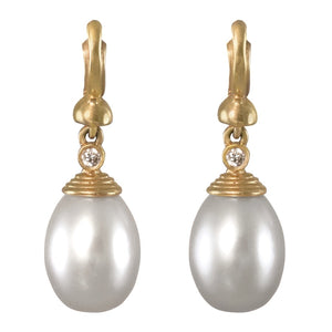 PEARL DROP EARRINGS IN YELLOW GOLD - PERSONA JEWELRY