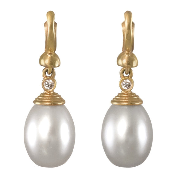 18K YELLOW GOLD PEARL DROP EARRINGS WITH DIAMOND ACCENT - PERSONA JEWELRY