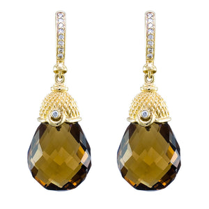 18K YELLOW GOLD WHISKEY QUARTZ AND DIAMOND DROP EARRINGS - PERSONA JEWELRY