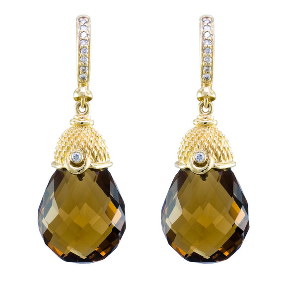 WHISKEY QUARTZ DROP EARRINGS - PERSONA JEWELRY