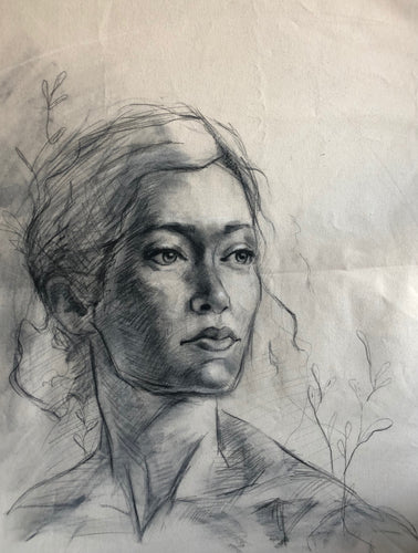 Original Female Charcoal Drawing